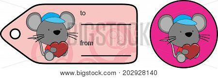 cute baby plush mouse cartoon love giftcard sticker in vector format very easy to edit