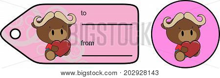 cute baby plush ox cartoon love giftcard sticker in vector format very easy to edit