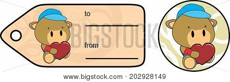 cute baby plush camel cartoon love giftcard sticker in vector format very easy to edit