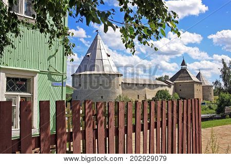 Staraya Ladoga Russia - July 17 2016: Old Ladoga fortress. The fortress of Ladoga was built in the 12th century and rebuilt 400 years later. It is now mostly reconstructed since being heavily damaged during World War II.