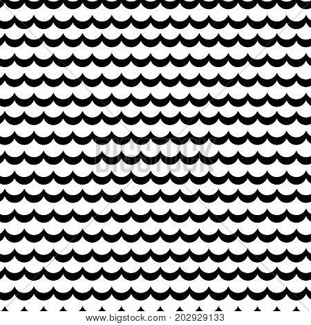 Abstract sea wave frill black and white vector pattern. Simple scale rows repeating background.