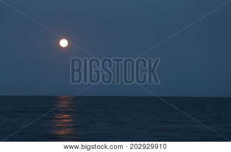 Tranquillity Scene With Big Moon