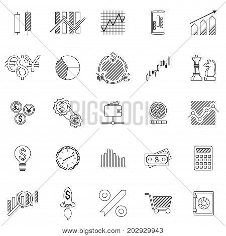 Set of stock forex icons. Finance exchange investing icon. Money income trade. Vector illustration