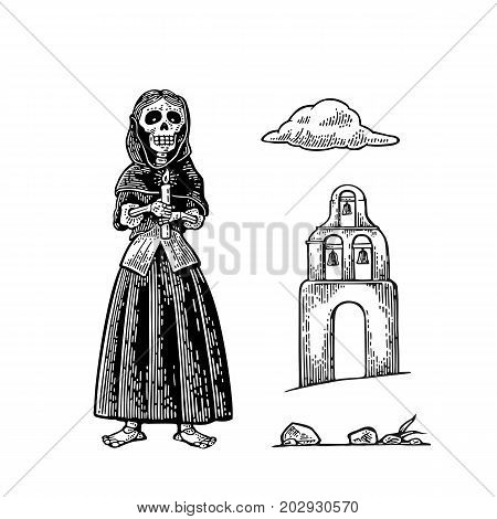 Day of the Dead Dia de los Muertos. Church and skeleton in the mexican woman national clothes holding burning candle. Vector vintage engraving for poster label. Isolated on white background