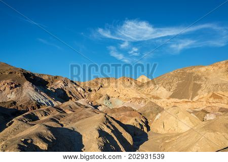 Landscape view of colorful hills from Artists Drive in Death Valley California