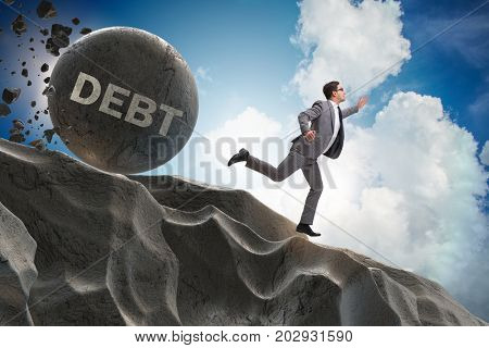 Businessman in debt loan business concept