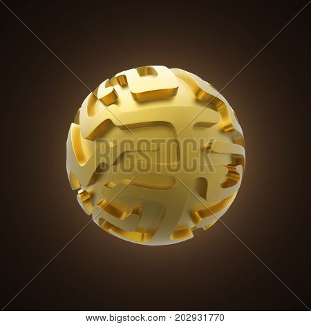Gold sphere with maze pattern 3D illustration.