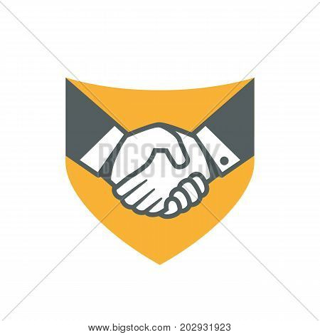 Handshake logo. Deal logo. Vector logo useful for business related to contracts, deals, support, agreements, etc
