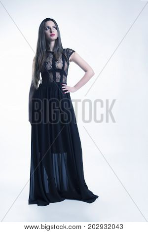 Young Model With Black Dress