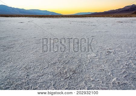 Salt flats in Badwater Basin in Death Valley National Park in California