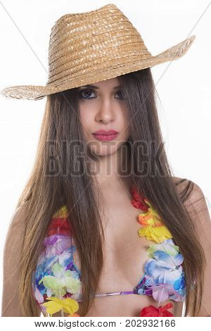 Young Woman With Swimsuit And Hat