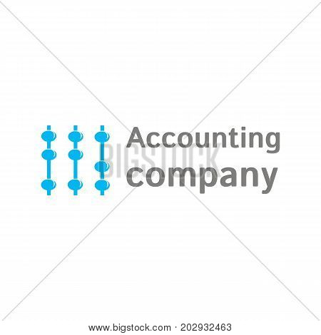 Vector logo template for accounting company. Illustration of scores in blue. EPS10. Creative and simple logotype for business companies.