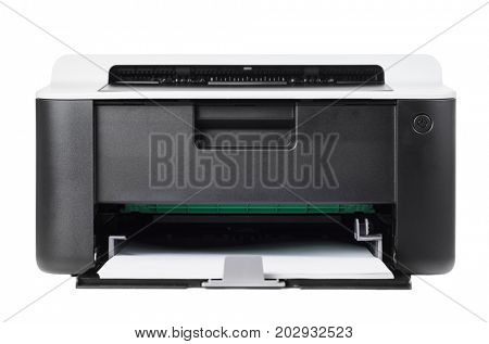 Compact laser home printer isolated on white background