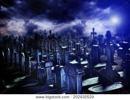 Halloween night in cemetery grave. Moonlit tomb with cross burial ground in deserted graveyard. Sky with dark clouds over horror and mystical habitat of vampires and zombies. 3D rendering