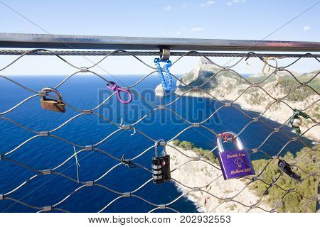 Locks On Cap De Formentor - Beautiful Coast Of Majorca, Spain - Europe. 29.06.2017