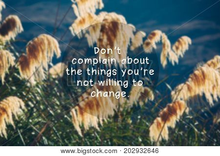 Inspirational quotes - Don't complain about the things you're not willing to change. Blurry retro styled background.