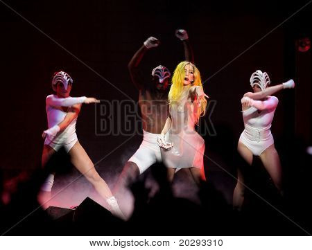 LOS ANGELES - MAR 28:  Lady Gaga Performs at Staples Center  on March 28, 2011 in Hollywood, CA