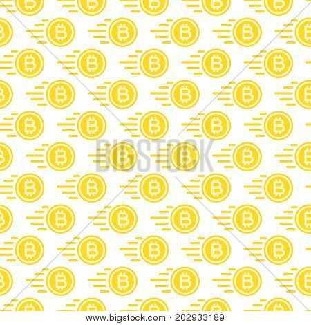 Bit coin seamless pattern consisting of flying money yellow color flat style for cryptocurrency, payment, finance company, investment, bank, money, exchange etc. Vector Illustration