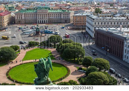 View of Saint Isaac's square from St.Isaac's Cathedral in St. Petersburg, Russia.