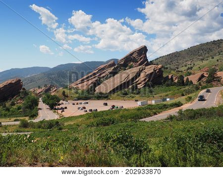 Natural red rock sandstone formations in Morrison Colorado. This is the site of the Red Rocks Ampitheatre.