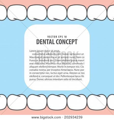 Layout Teeth And Gum Frame Inside View Cartoon Style For Info Or Book Illustration Vector On Blue Ba
