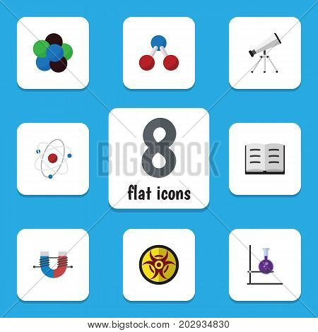 Flat Icon Science Set Of Proton, Attractive Force, Nuclear And Other Vector Objects
