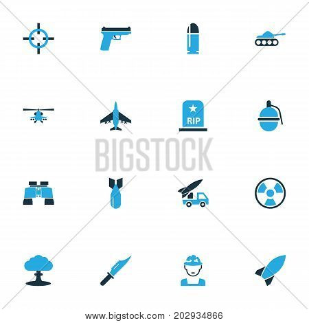 Warfare Colorful Icons Set. Collection Of Bomb, Knife, Grave And Other Elements