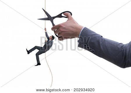 Hand cutting rope in business risk concept