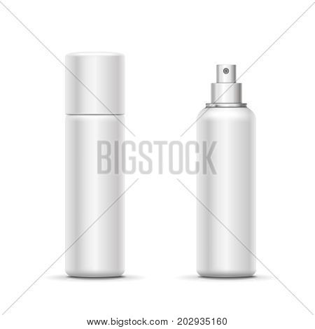 Blank metal bottle with sprayer cap. Cosmetic deodorant template or freshener. Vector.