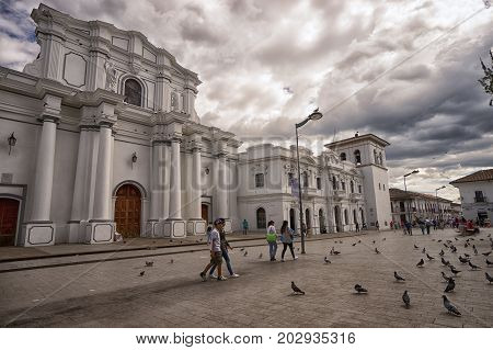 July 6, 2017 Popayan, Colombia: people walk through the main plaza of the historic centre of the colonial city