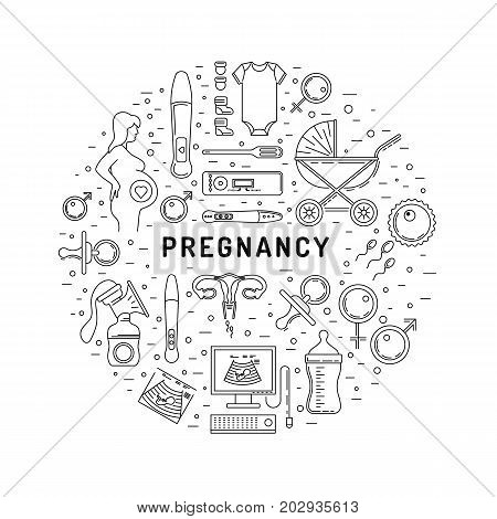 Examination and diagnosis of pregnancy, the medicine and the health of the fetus to the mother. Medical examination with ultrasound and a special tool a pregnancy test