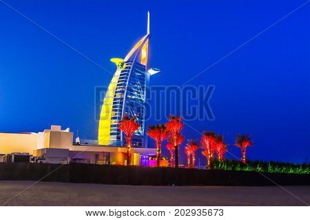 DUBAI, UAE - September 05: Burj Al Arab hotel on September 05, 2017 in Dubai. Burj Al Arab is a luxury 5 stars hotel built on an artificial island in front of Jumeirah beach.