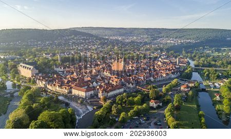 Aerial view of Hann Munden, Lower Saxony, Germany