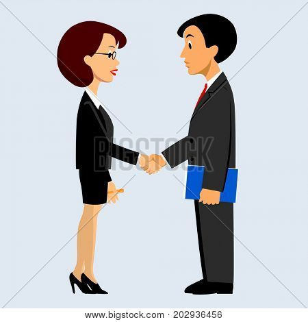 Handshake of business man and woman in flat style. Symbol and metaphor of business time partnership