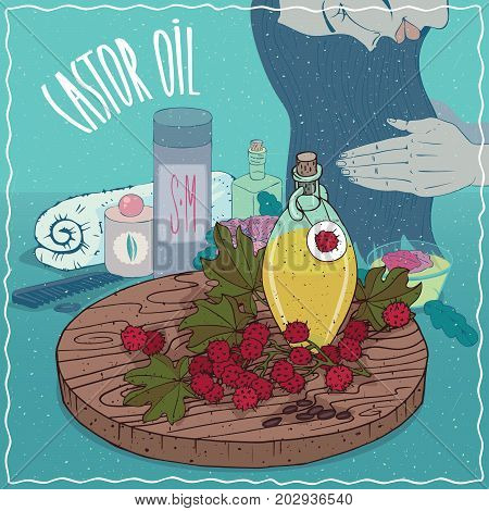 Glass Decanter of Castor oil and seeds of Castorbean or Ricinus communis plant. Girl applying hair conditioner. Natural vegetable oil used for hair care