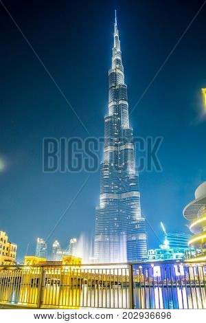 DUBAI, UNITED ARAB EMIRATES - 05 September, 2017: Burj Khalifa tower. This skyscraper is the tallest man-made structure in the world, measuring 828 m. Completed in 2009. September 05, 2017 Dubai, UAE
