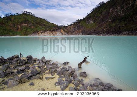 Kawah Putih - Ancient Volcanic Crater With Three Colored Water, Similar To Famous Kelimutu Volcano ,
