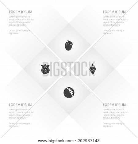 Icon Healthy Set Of Raspberry, Apple Tree, Tangerine And Other Vector Objects