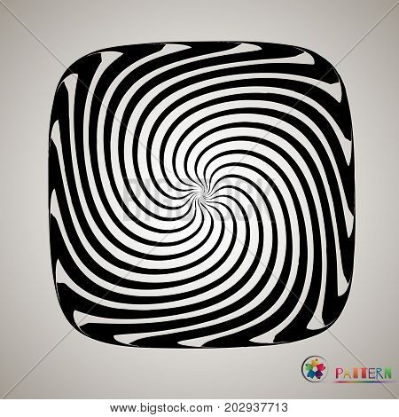 Vector Striped Spiral Abstract Tunnel Background. Spiral Funnel. Twisted Rays. Striped Tunnel. Spira