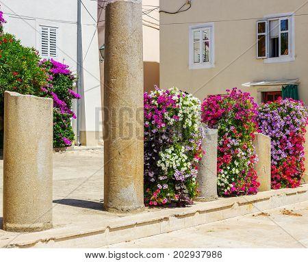 island Krk old town street in Croatia