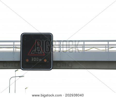 Road Sign Warning Of F The Drawbridge Between 300 Meters