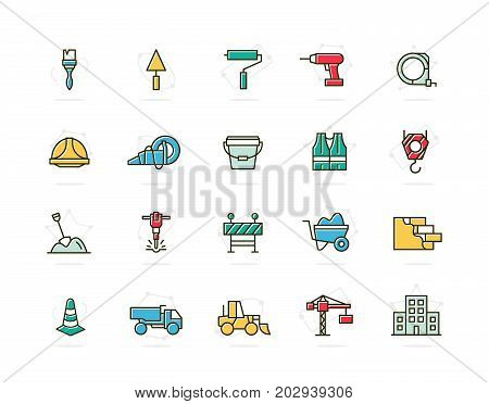 Set of vector construction and repair colored line icons. Brush, roller, drill, helmet, paint, cone, crane, hook, wall, truck, cament, jackhammer, excavator, workwear, fence, builder and more. Editable Stroke.