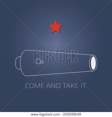Vector illustration for the day of Battle of Gonzales, the first military engagement of the Texas Revolution. Come and Take it flag variation. Come and take it is a historic slogan from ancient times.