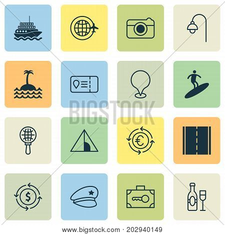 Travel Icons Set. Collection Of Globe Search, Money Recycle, Lamppost And Other Elements