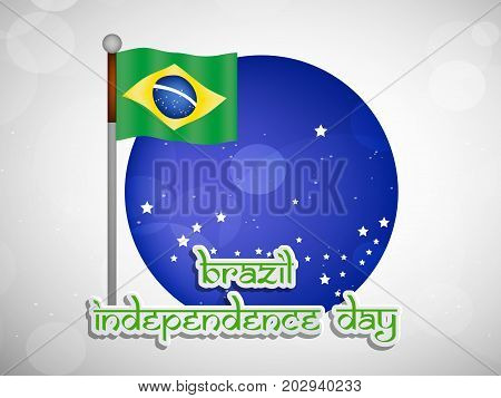 illustration of Brazil flag and button with Happy Independence Day text on the occasion of Brazil Independence Day
