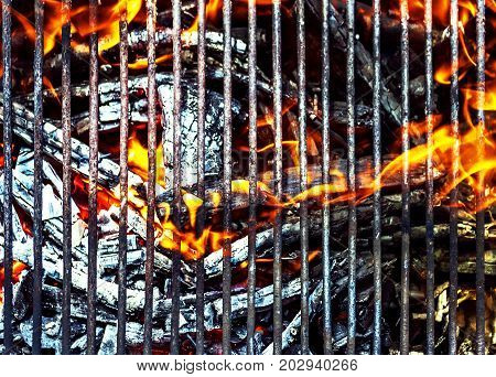 Hot BBQ Grill with Bright Flame close