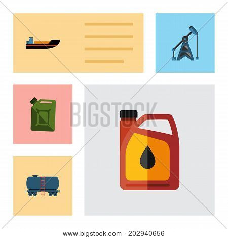 Flat Icon Petrol Set Of Rig, Fuel Canister, Boat And Other Vector Objects