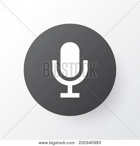 Premium Quality Isolated Mike Element In Trendy Style.  Audio Icon Symbol.