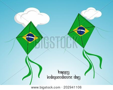illustration of kites in Brazil flag background with Happy Independence Day text on the occasion of Brazil Independence Day