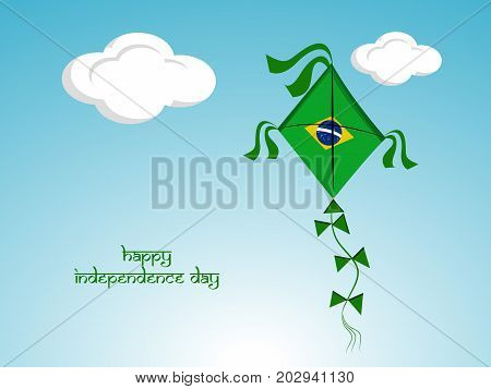 illustration of kite in Brazil flag background with Happy Independence Day text on the occasion of Brazil Independence Day